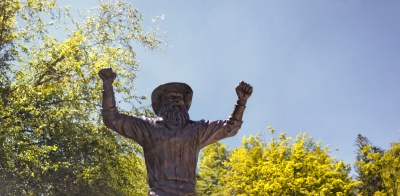 Yosef statue in spring time